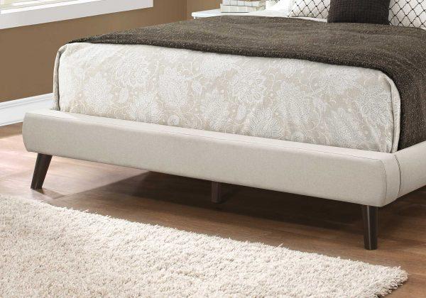 "70.5"" x 87.25"" x 45.25"" Beige, Foam, Solid Wood, Linen - Queen Sized Bed With Wood Legs"