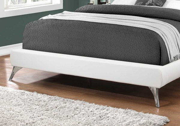 """70.5"""" x 87.25"""" x 45.25"""" White, Foam, Solid Wood, Leather-Look - Queen Sized Bed With Chrome Legs"""