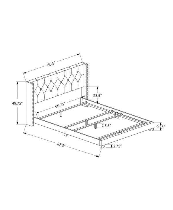"""66.5"""" x 87.5"""" x 49.75"""" Grey, Foam, Solid Wood, Linen - Queen Size Bed With A Chrome Trim"""