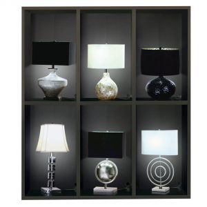 """11.75"""" x 60.75"""" x 68.25"""" Cappuccino - Lamp - In-Store Display Cabinet / Power Bar"""