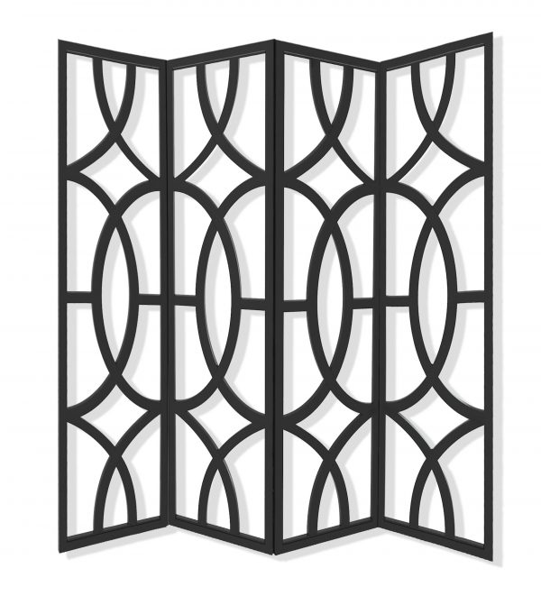 "84"" x 2"" x 84"" Black, Wood, 4 Panel - Screen"
