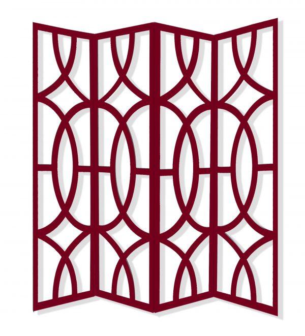 "84"" x 2"" x 84"" Red, Wood, 4 Panel - Screen"