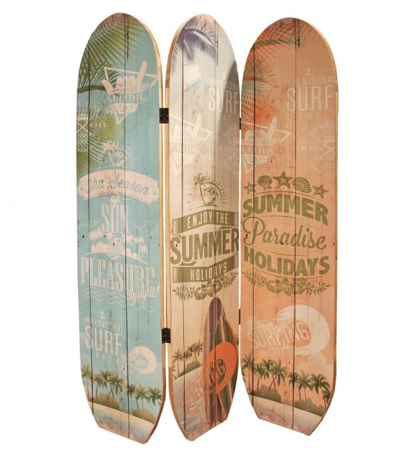 "47"" x 1"" x 71"" Multicolor, Wood, Surfboard Summer - Screen"