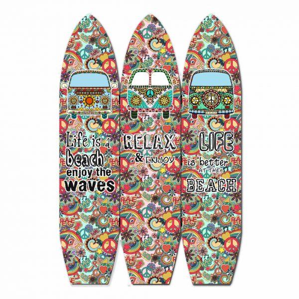 "47"" x 1"" x 71"" Multicolor, Vintage, Wood, Surfboard - Screen"