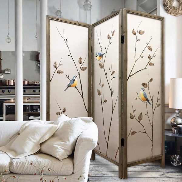 """60"""" x 1"""" x 63"""" Brown, Fabric And Wood - 3 Panel Screen"""