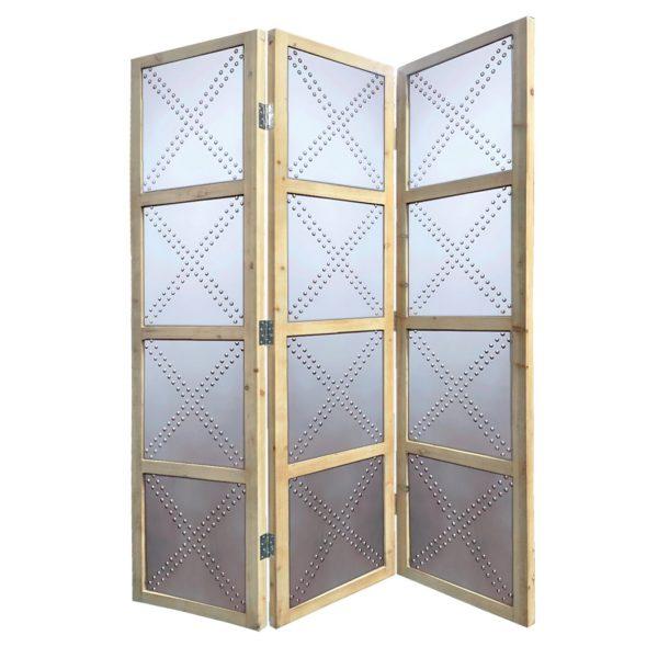 """63"""" x 2"""" x 84"""" Silver, Wood, 3 Panel - Screen"""
