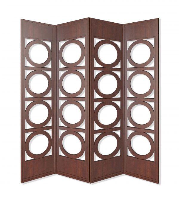 """84"""" x 2"""" x 84"""" Brown, 4 Panel, Wood - Screen"""