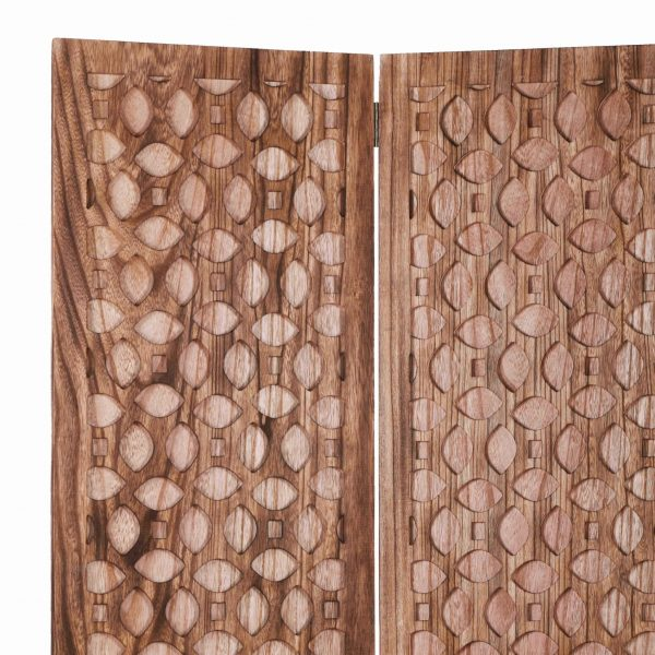 """47"""" x 1"""" x 67"""" Brown, Carved Wood - Screen"""