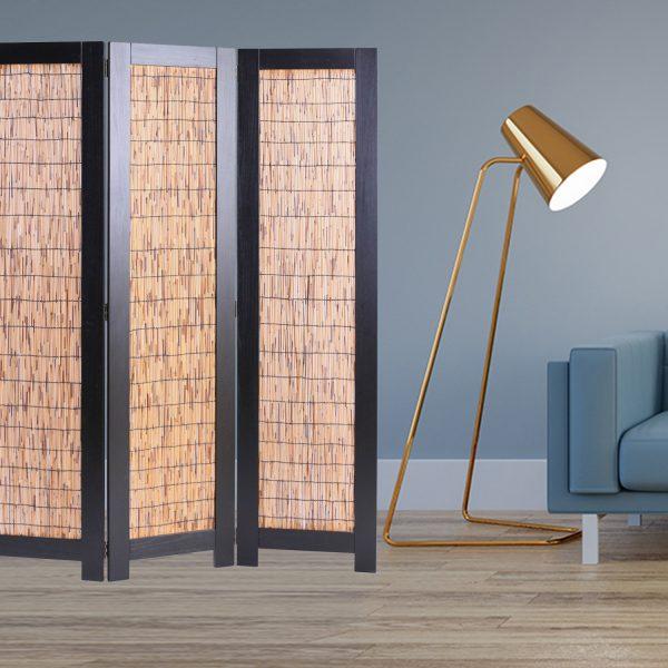 "47"" x 1.5"" x 67"" Black, Wood Wicker - 3 Panel Screen"