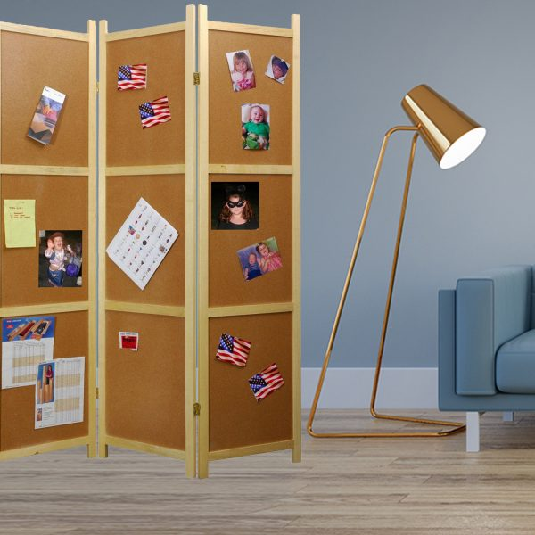 "47"" x 1.5"" x 67"" Decorative Brown, Wood, Corkboard - Screen"