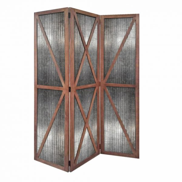 """47"""" x 1.5"""" x 67"""" Silver And Brown, Wood And Metal, Industrial - Screen"""