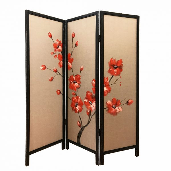 """60"""" x 1"""" x 63"""" Brown, Fabric And Wood, Blooming - 3 Panel Screen"""