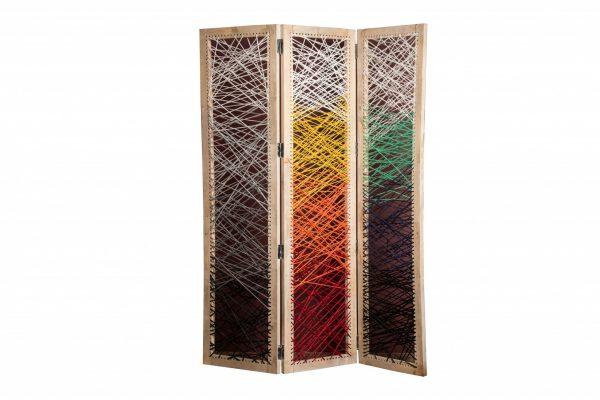 "61"" x 1.5"" x 72"" Multicolor, Fabric And Wood, Crisscross - Screen"