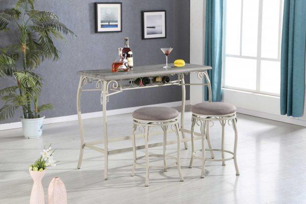 3 Piece Wooden Counter Height Set Gray Oak & Fabric