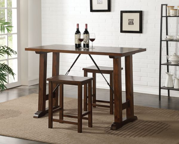 3 Piece Wooden Counter Height Set in Walnut and Black