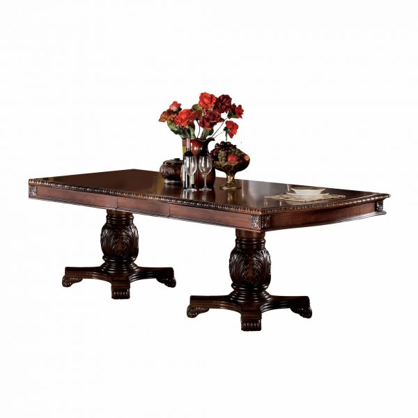 """46"""" X 96"""" X 31"""" Cherry Wood Poly Resin Dining Table w/Double Pedestal"""