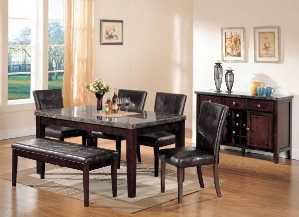 "38"" X 64"" X 31"" Black Marble Walnut Wood Dining Table"