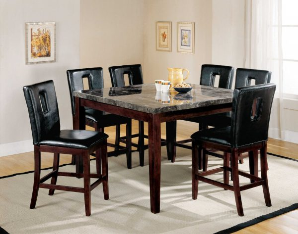 """54"""" X 54"""" X 36"""" Black Marble Walnut Wood Counter Height Table"""