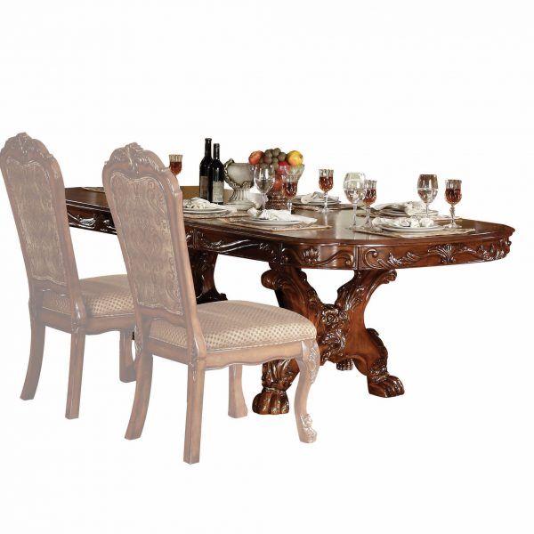 """46"""" X 108"""" X 31"""" Cherry Oak Wood Poly Resin Dining Table with Trestle Pedestal"""