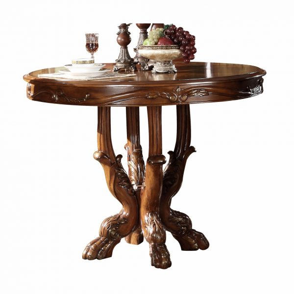 """48"""" X 48"""" X 36"""" Cherry Oak Wood Poly Resin Counter Height Table"""