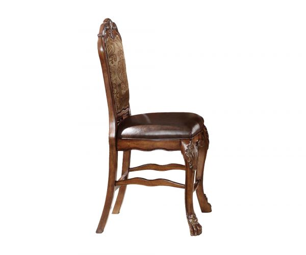 """24"""" X 21"""" X 48"""" PU Cherry Oak Wood Poly Resin Upholstery Counter Height Chair (Set-2)"""