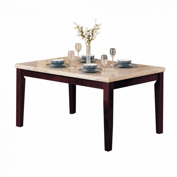 """38"""" X 64"""" X 31"""" White Marble Walnut Wood Dining Table"""