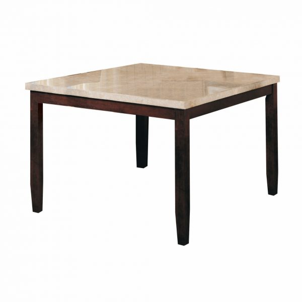 """54"""" X 54"""" X 36"""" White Marble Walnut Wood Counter Height Table"""