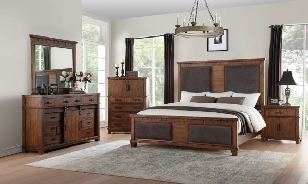 """66"""" X 89"""" X 68"""" Brown Fabric Cherry Oak Wood Upholstered (HB/FB) Queen Bed"""