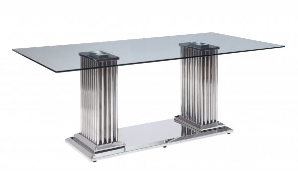 """39"""" X 79"""" X 30"""" Stainless Steel Clear Glass Mirror Dining Table w/Double Pedestal"""