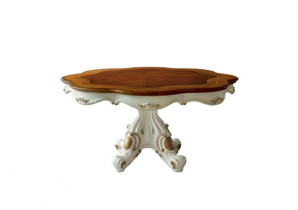 """62"""" X 62"""" X 31"""" Antique Pearl Cherry Oak Wood Poly-Resin Dining Table w/Single Pedestal"""