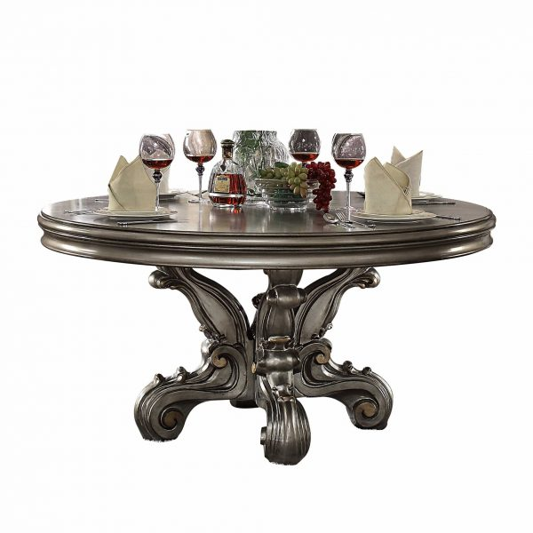 """60"""" X 60"""" X 30"""" Antique Platinum Wood Poly Resin Dining Table (Round Pedestal)"""