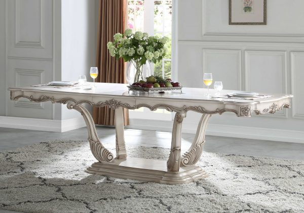 """44"""" X 102"""" X 30"""" Antique White Wood Dining Table w/Pedestal"""