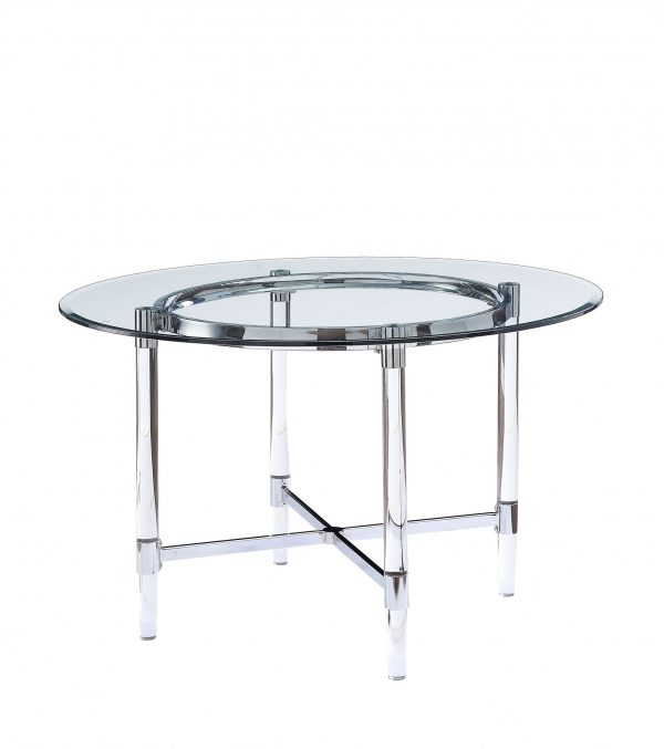 "48"" X 48"" X 30"" Chrome Clear Glass Acrylic Metal Dining Table"