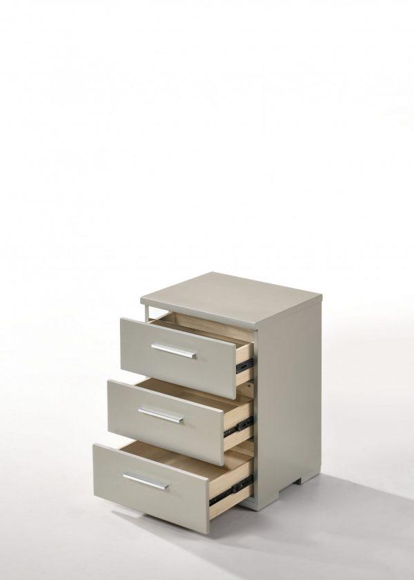 """15"""" X 18"""" X 25"""" Silver Wood Veneer (Paper) Nightstand"""