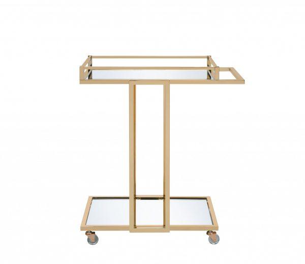 "17"" X 29"" X 33"" Gold Metal Mirror Casters Serving Cart"