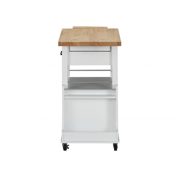 """19"""" X 35"""" X 35"""" Natural White Wood Casters Kitchen Cart"""