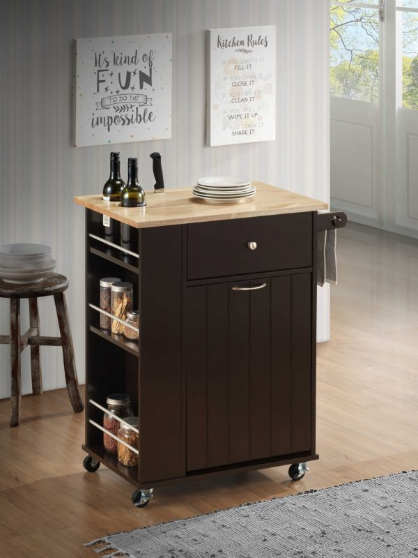 """18"""" X 29"""" X 34"""" Natural Wenge Wood Casters Kitchen Cart"""