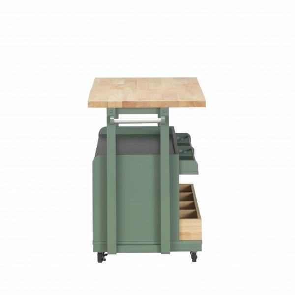 "24"" X 43"" X 35"" Natural Green Wood Casters Kitchen Cart"