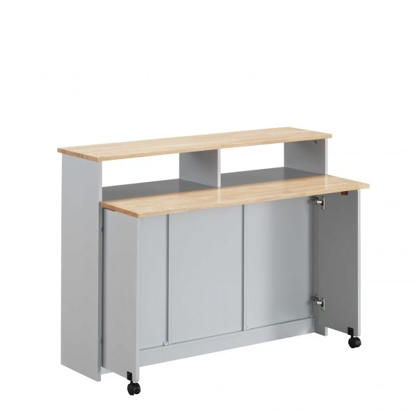 """23"""" X 47"""" X 37"""" Natural Gray Wood Casters Kitchen Cart"""