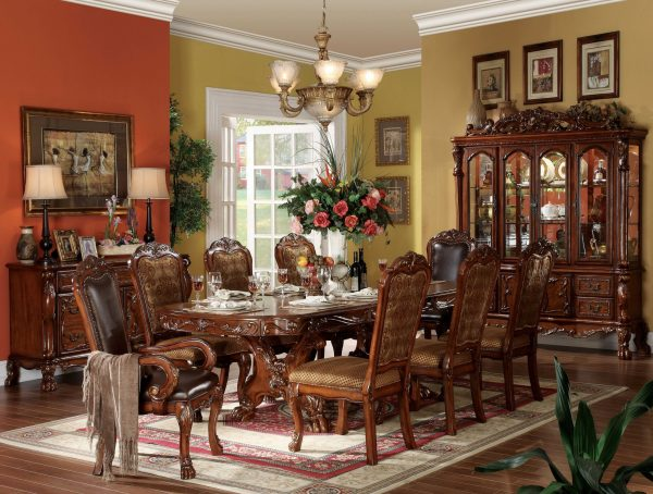 "19"" X 74"" X 89"" Cherry Oak Wood Poly Resin Glass Hutch & Buffet"