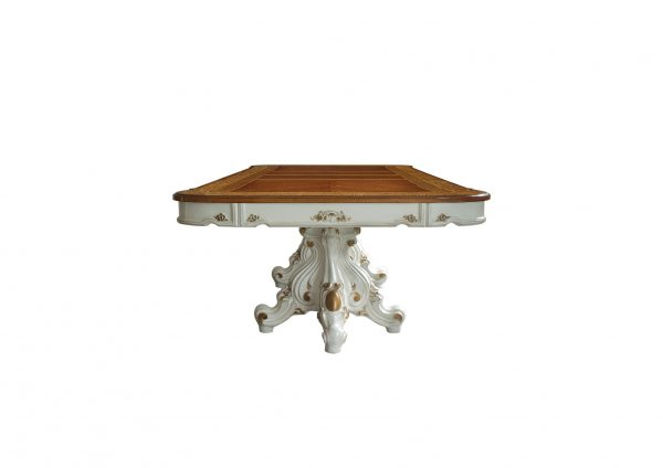 """49"""" X 120"""" X 31"""" Antique Pearl Cherry Oak Wood Poly-Resin Dining Table w/Double Pedestal"""