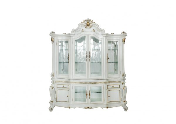 """23"""" X 79"""" X 92"""" Antique Pearl Wood Poly-Resin Glass Mirror Hutch & Buffet"""