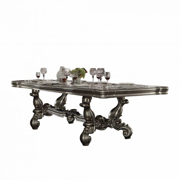 """46"""" X 120"""" X 32"""" Antique Platinum Wood Poly Resin Dining Table (120""""L)"""