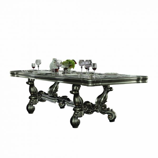 """46"""" X 136"""" X 32"""" Antique Platinum Wood Poly Resin Dining Table (136""""L)"""