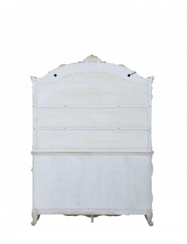 "24"" X 75"" X 106"" Antique White Wood Glass Mirror Hutch & Buffet"