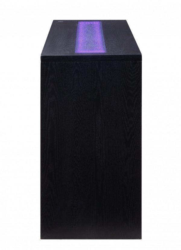 """18"""" X 52"""" X 34"""" Black Wood LED Glass Server"""