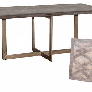 """78"""" x 38"""" x 30"""" Wood Cream and Gold Contemporary Dining Table"""