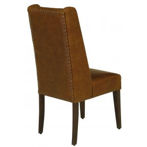 """20.5"""" x 22.5"""" x 44.5"""" Leather and Wood Brown Modern Contemporary Dining Chair"""