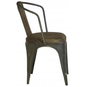 """22"""" x 19"""" x 32"""" Leather Stonewash Brown Leather and Grey Metal Nostalgic Modern Dining Chair"""