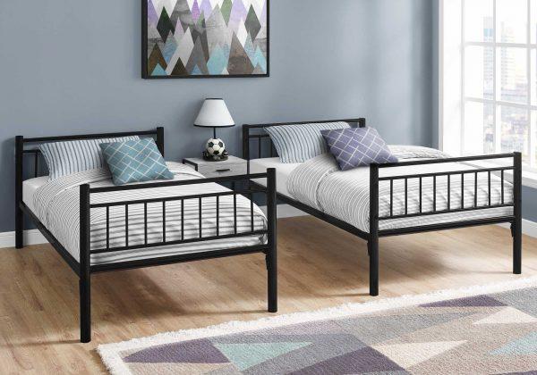 "56.75"" x 78.5"" x 65.75"" Black, Metal, Detachable, Bunk Bed - Twin Size"